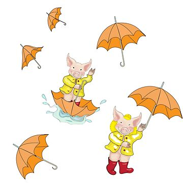 Piglet in the Rain with Umbrella by Jeweledfrog