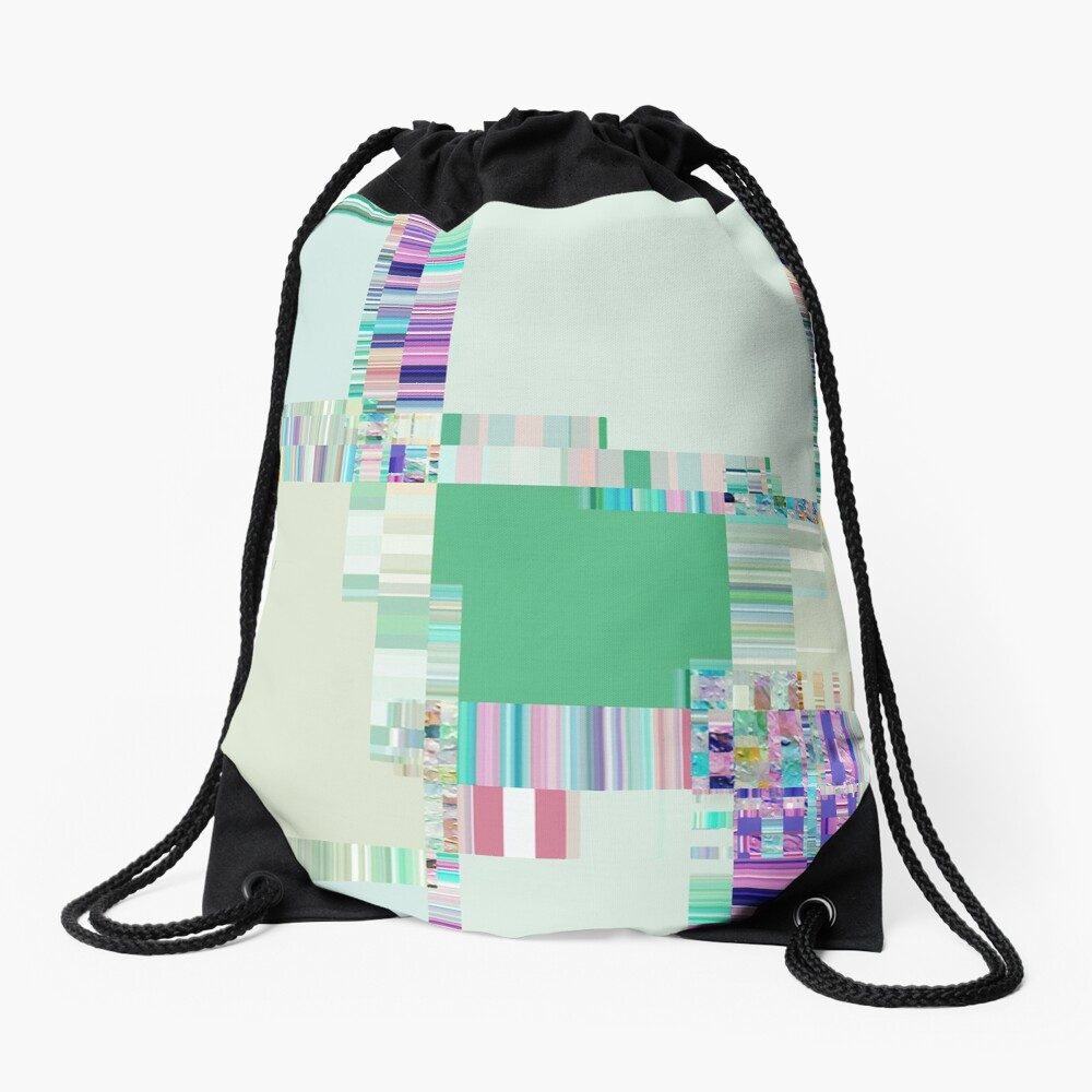 Abstract lines and colour green Drawstring Bag