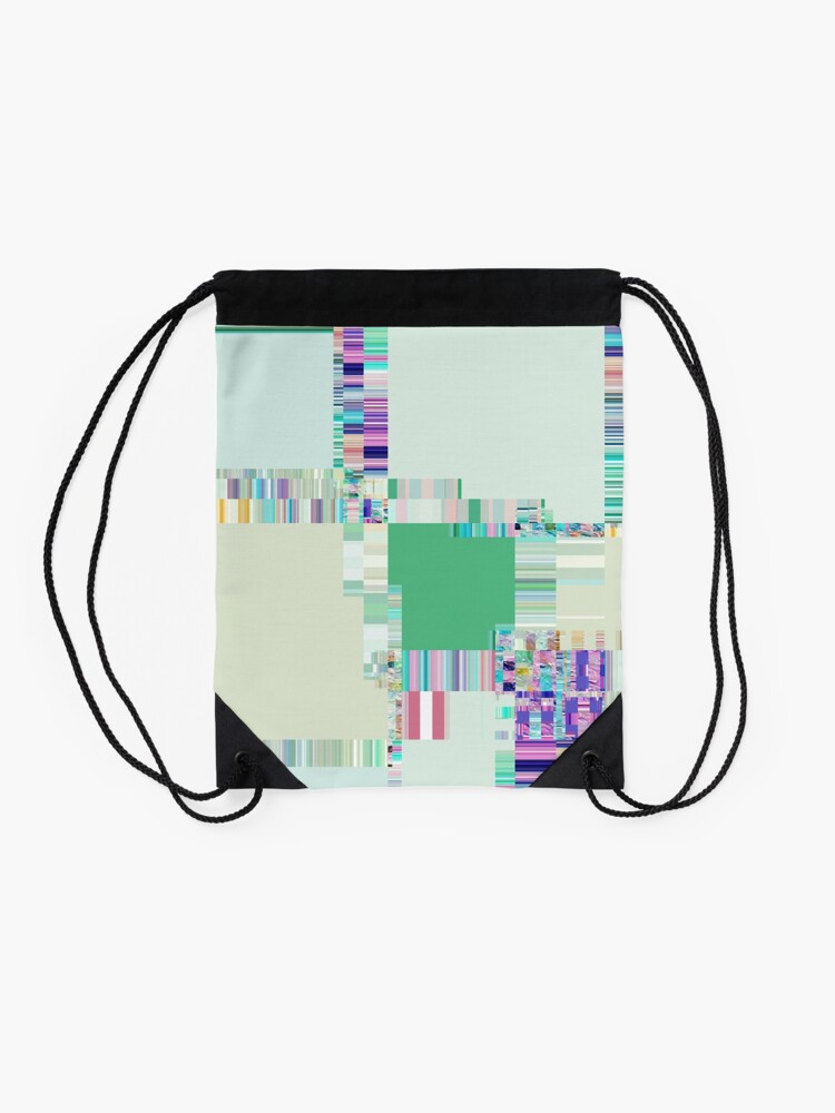 Alternate view of Abstract lines and colour green Drawstring Bag