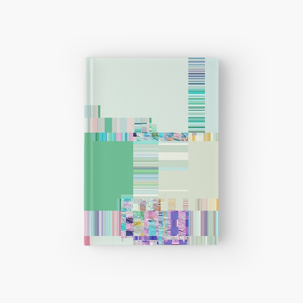Abstract lines and colour green Hardcover Journal