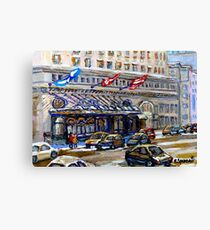 Rue Sherbrooke Best Canadian Original Art For Sale Ritz Carlton Paintings  Montreal Street Scenes Canvas Print
