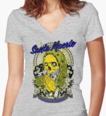 Camiseta entallada de cuello en V Santa muerte