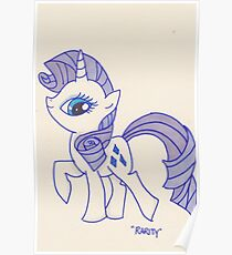 Notecard Ponies #5: Rarity Poster