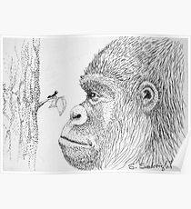 Gorilla and Ant Poster
