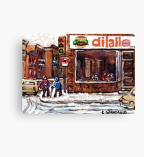 Dilallo Burger Hockey Scenes Rue Notre Dame Montreal Winter Street  Canadian Paintings Canvas Print