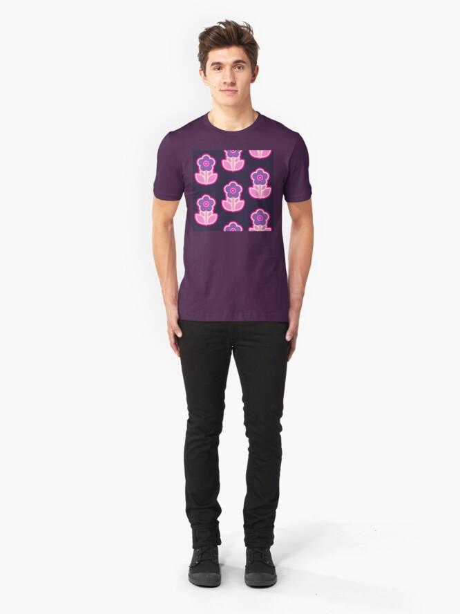 Alternate view of Geometric Pattern: Five Petal Flower: Purple Slim Fit T-Shirt