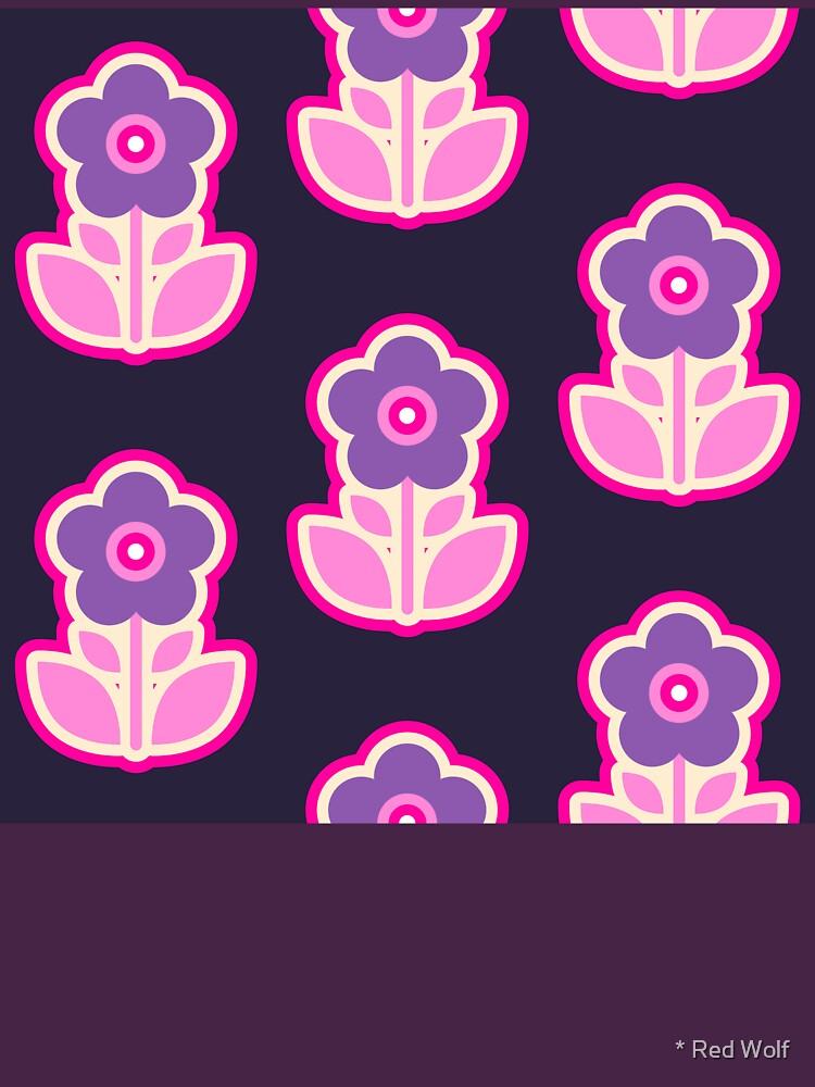 Geometric Pattern: Five Petal Flower: Purple by redwolfoz