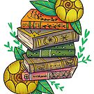 Bookpile with golden roses by Wieskunde
