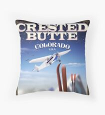 Crested Butte Colorado USA vintage ski poster Throw Pillow