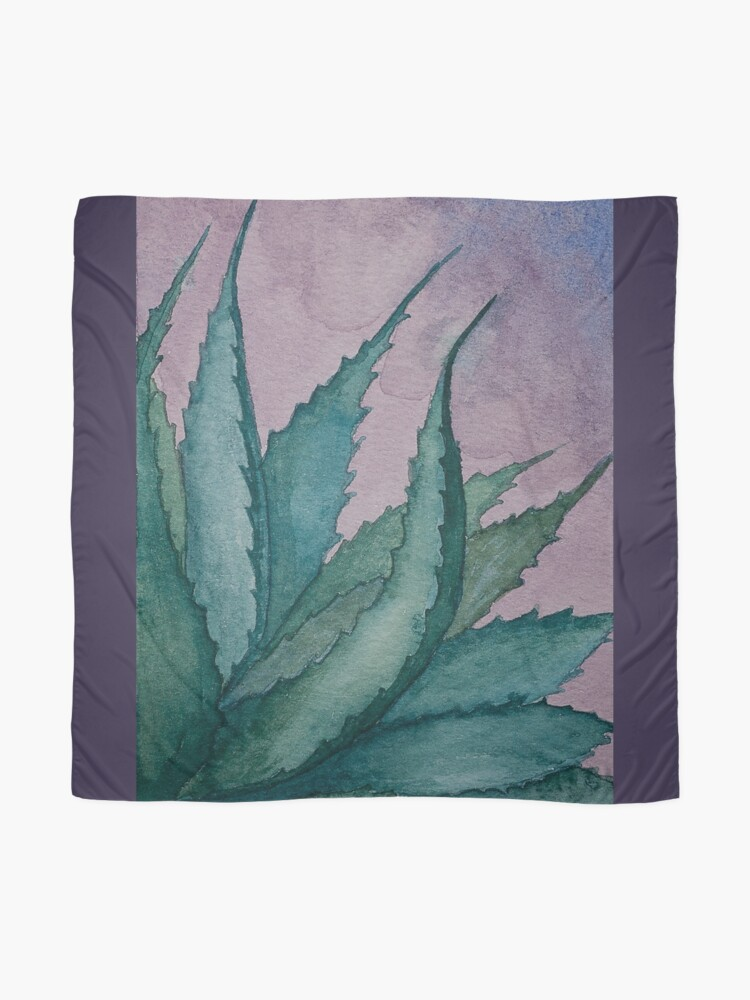 Alternate view of Agave plant watercolor painting Scarf