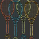 Tennis Rackets & Balls Cool Retro Sports Graphic  by superdazzle