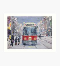 Queen West bound Streetcar, first snowfall Art Print