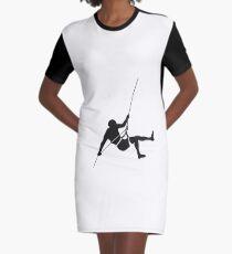 Climber climbing on the wall hill Graphic T-Shirt Dress