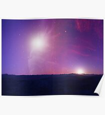 Landscape with stars and nebula. Poster