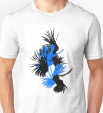 Blue And Black Swirled Birds T-Shirt
