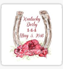KY Derby 144, Horse Shoe with Roses, Watercolor, Louisville, KY Sticker