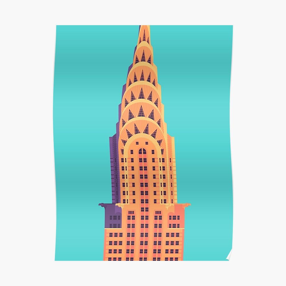 Chrysler-Gebäude - Cyan Poster