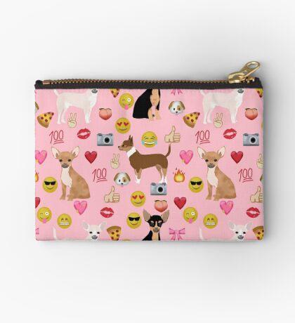 chihuahua emoji funny dog gifts emojis Zipper Pouch