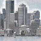 Boston Harbor Skyline by mrthink