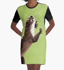 Otters: Asian small-clawed otter (Green) Graphic T-Shirt Dress