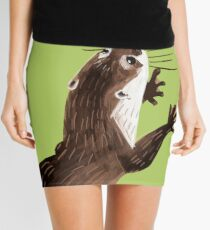 Otters: Asian small-clawed otter (Green) Mini Skirt