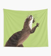 Otters : Asian small-clawed otter (Green) Tela decorativa