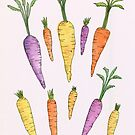 Watercolor Heirloom Carrots by latheandquill