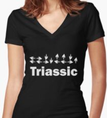 Dinotopia Inspired Triassic Text Women's Fitted V-Neck T-Shirt