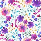 «Fluro floral fondo blanco todo el patrón» de Dizzywonders