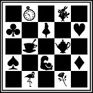 Alice in Wonderland Inspired Chess Board Silhouette by Marianne Paluso