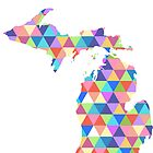 Michigan Colorful Hipster Geometric Triangles by CorrieJacobs