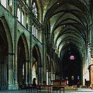 Altar in new nave looking to old nave Saint-Cyr-et-Sainte-Julitte-de-Nevers Cathedral Nevers France 19840828 0020  by Fred Mitchell