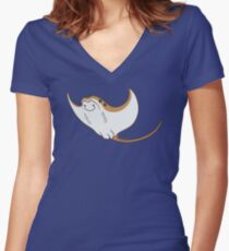 Cownose ray Women's Fitted V-Neck T-Shirt