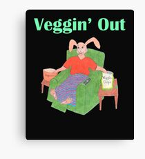 Veggin Out Snacking Bunny Canvas Print