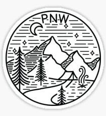 Pegatina PNW Pacific Northwest Oregon Washington Árboles de montaña geométricos Estrellas Luna Diseño