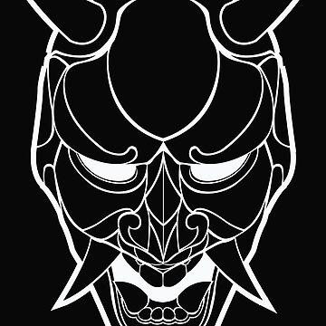 Japanese Demon Mask Line Art by ep5ilon