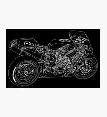 Motorcycle blueprint wall art redbubble motorcycle science in white photographic print 660 wpm chopper blueprint art print malvernweather Gallery