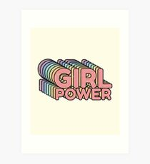 GRL PWR - Girl Power cool Vintage distressed typography design 70s 80s cute Retro style Tee shirts  Art Print