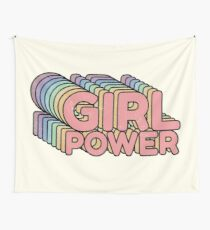 GRL PWR - Girl Power cool Vintage distressed typography design 70s 80s cute Retro style Tee shirts  Wall Tapestry