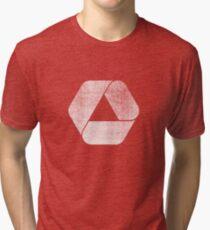 Overlap - White Tri-blend T-Shirt