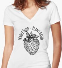 Whole Food Plant Based Strawberry Women's Fitted V-Neck T-Shirt