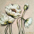 White Poppies with Pastel Patterns by Cherie Roe Dirksen