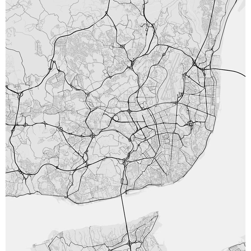 Lisbon Portugal Map Black On White Scarves By GraphicalMaps - lisbon map