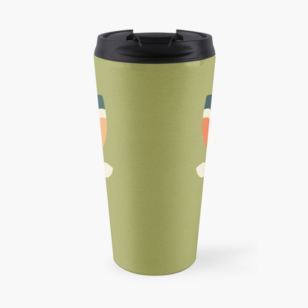 Retro Tulip - Orange and Olive Green Travel Mug
