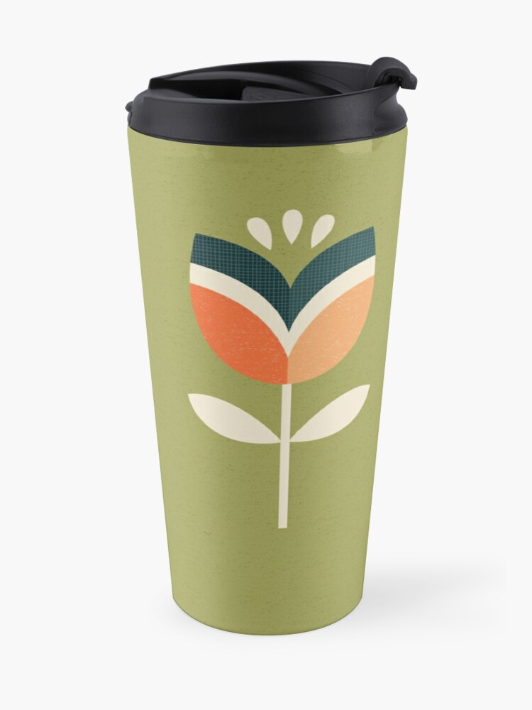 Alternate view of Retro Tulip - Orange and Olive Green Travel Mug