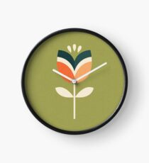 Retro Tulip - Orange and Olive Green Clock