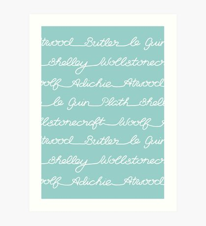 Feminist Book Author Surname Hand Written Calligraphy Lettering Pattern - Blue Art Print