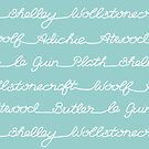 Feminist Book Author Surname Hand Written Calligraphy Lettering Pattern - Blue by arosecast