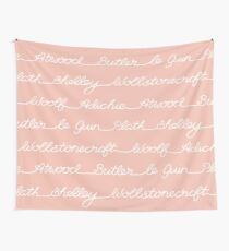 Feminist Book Author Surname Hand Written Calligraphy Lettering Pattern - Pink Wall Tapestry