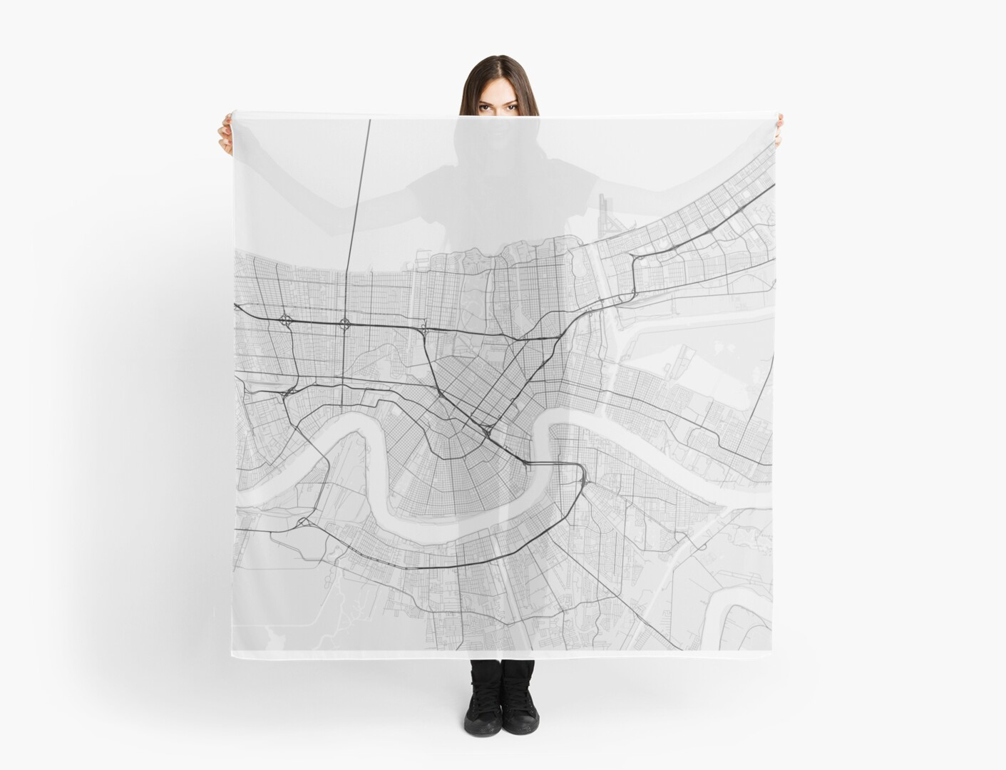New Orleans, USA Map. (Black on white)\